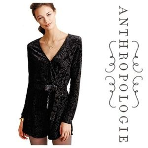 SAYLOR Black Burnout Velvet Romper Anthropologie